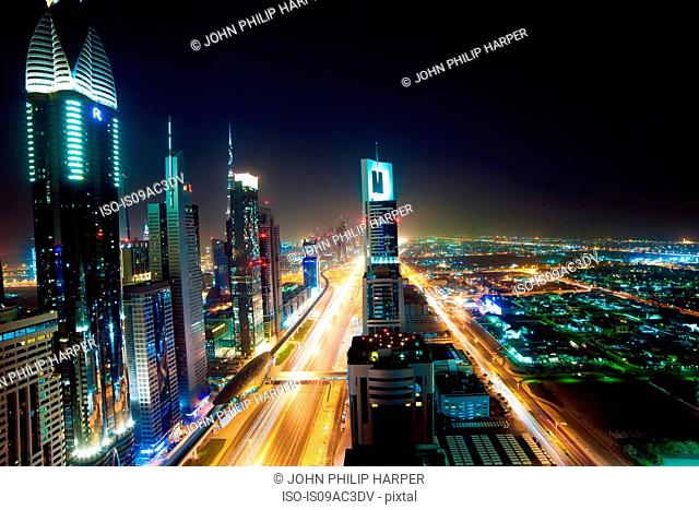 Dubai skyline at night, UAE
