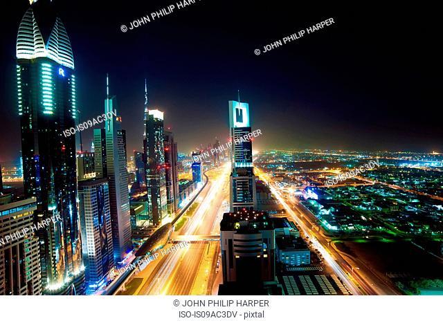 Dubai skyline at night, UAE