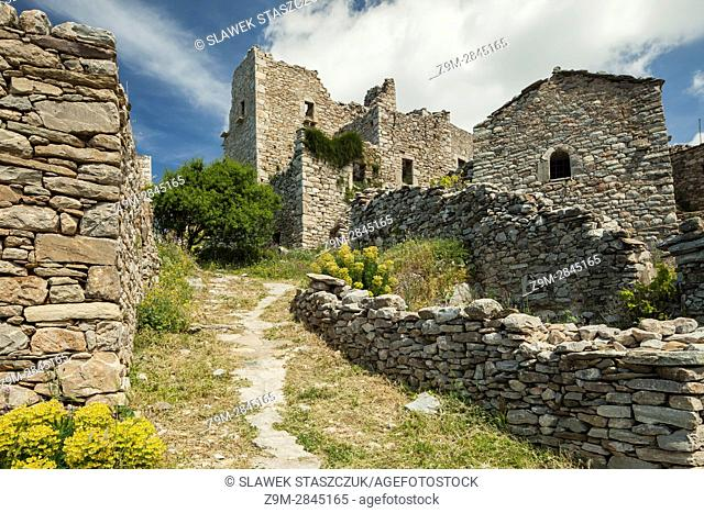 The abandoned fortified settlement of Vathia, Laconia, Peloponnese, Greece. Mani Peninsula