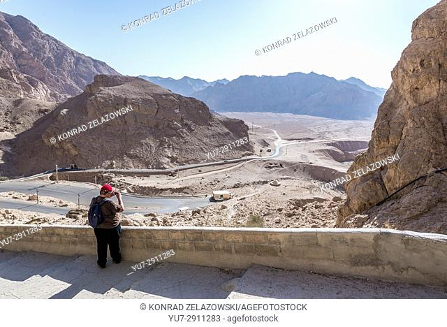 Tourist in Chak Chak (also spelled as Chek Chek - english: Drip Drip) famous village in Ira, holiest place of Zoroastrianism