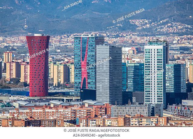 Spain , Barcelona Province, Hospitalet de Llobregat City Skyline,