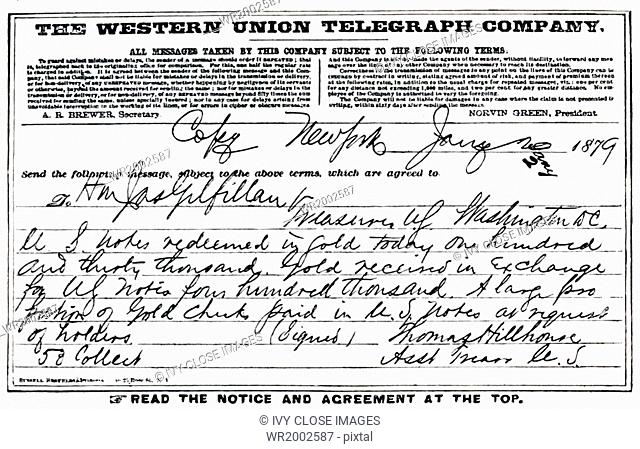 This image shows the telegram announcing the result of the First Day's Resumption at the New York Sub-Treasury in 1879, which was January 2 as January 1 was a...