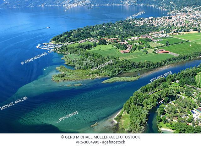 Paragliding above Lago Maggiore Delta near Ascona and Locarno