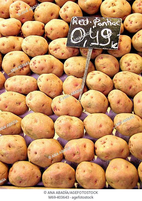 Potatoes. La Boquería market. Barcelona. Spain