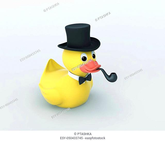 Rubber duck with black hat and smoking pipe. 3D rendering with clipping path