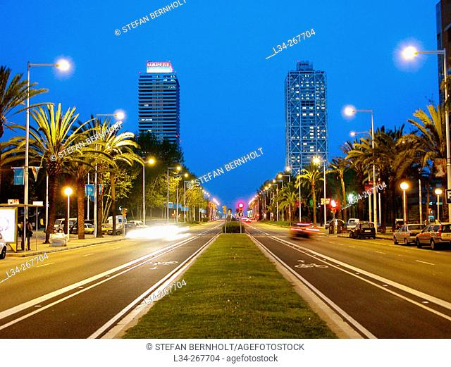 Carrer Marina with Mapfre tower and Hotel Arts in background. Barcelona. Spain