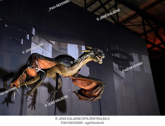 A dragon prop from the US television show 'Game of Thrones' is on display during the opening of the exhibition on the US television show 'Game of Thrones' in...