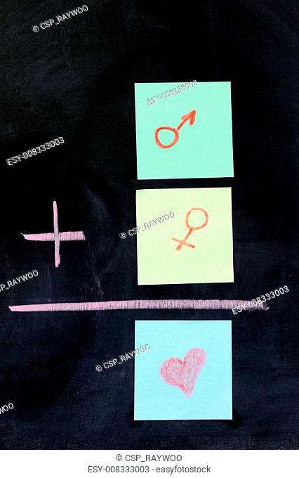 Male plus female equals love
