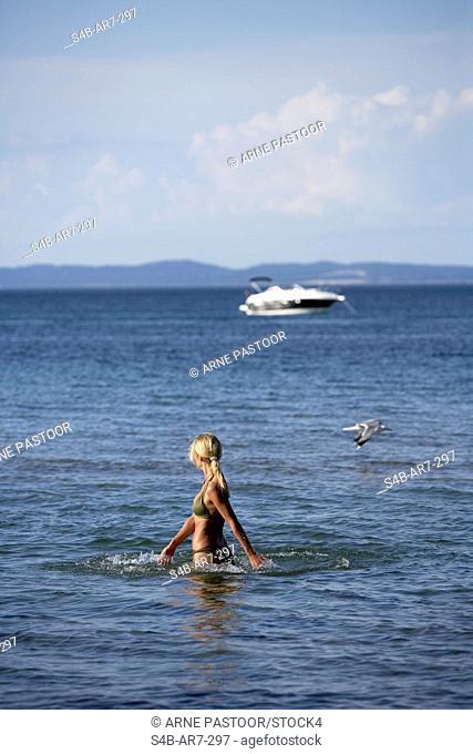Woman in the ocean