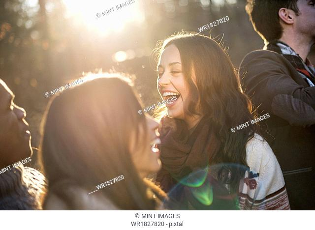 Smiling group of friends standing in a sunlit forest in autumn