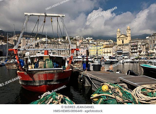 France, Haute Corse, Cap Corse, Nebbio Region, Bastia, the old port and church of St John the Baptist