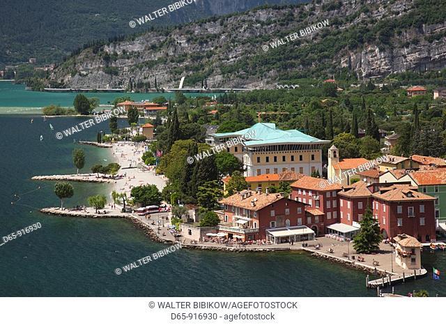 Italy, Trentino-Alto Adige, Lake District, Lake Garda, Torbole-Nago, aerial town beach view