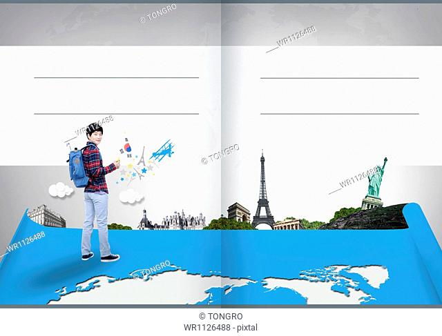 travel booklet template featuring European sights
