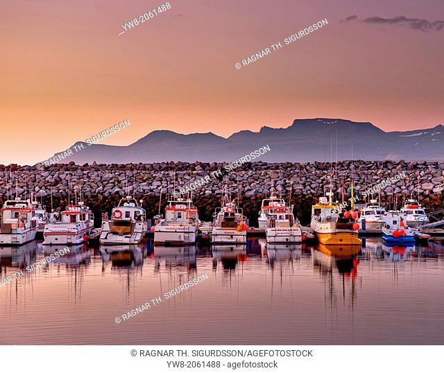 Boats in the harbor with the Midnight Sun, Olafsvik, Snaefellsnes Peninsula, Iceland