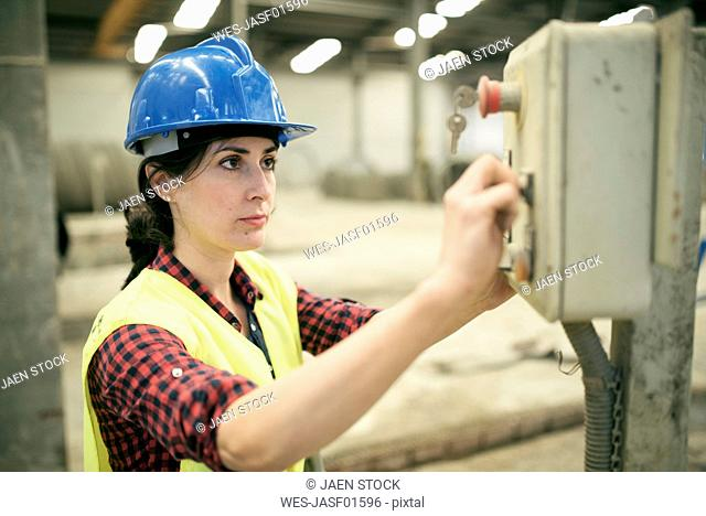 Woman working a factory, portrait