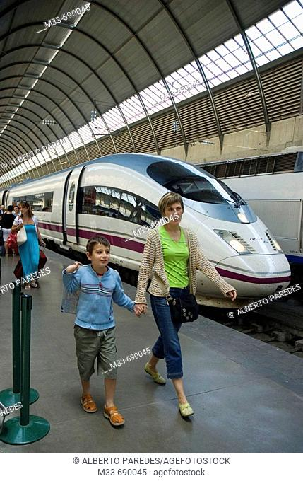 AVE (Spanish High-speed train), model Siemens Serie 103. Santa Justa station, Seville, Andalusia, Spain