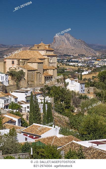 "Spain, Andalusia, Malaga Province, Antequera: Church of the Carmen, and back the """"Peña de los enamorados"""" mountain"