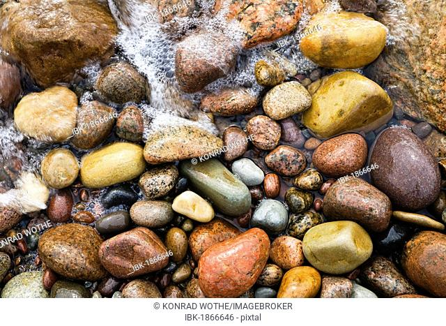 Stones on the beach of Bornholm, Baltic Sea, Denmark, Europe