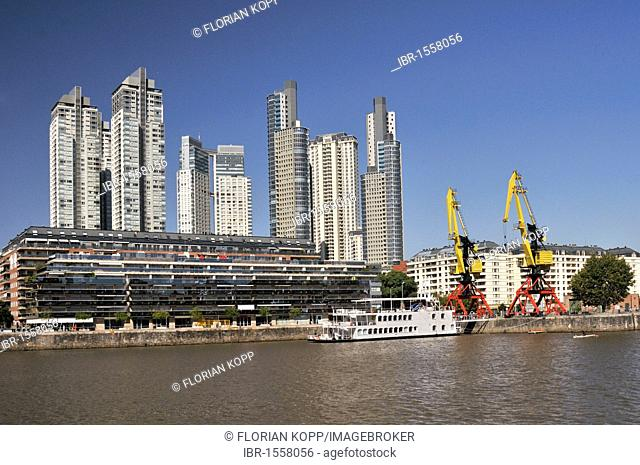 Modern office towers behind the old Puerto Madero harbor, Puerto Madero district, Buenos Aires, Argentina, South America