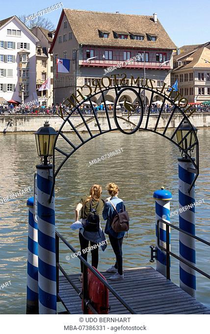 Pier Hotel zum Storchen at Limmatquai with view of old town, Zurich, Canton of Zurich, Switzerland