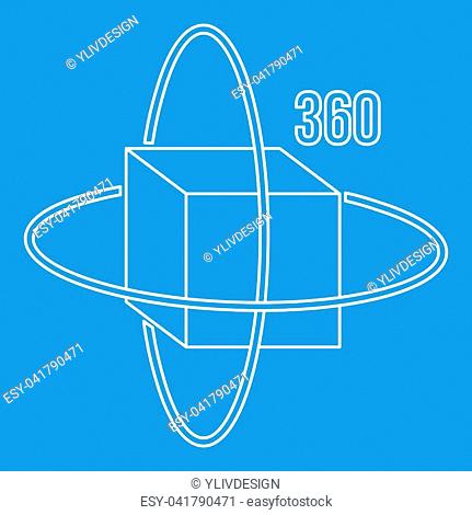 Virtual cube icon blue outline style isolated illustration. Thin line sign
