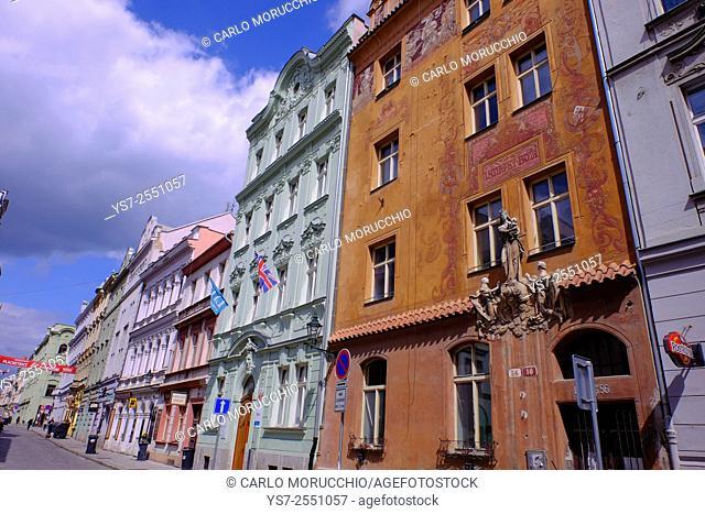 Building facades at Veleslavinova street, Pilsen, Western Bohemia, Czech Republic, Europe