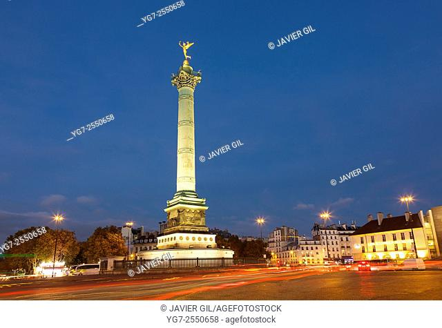 Liberty column, Bastille square, Paris, Ile-de-france, France