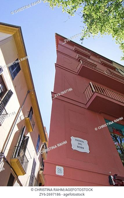 Red building on Born Avenue in Palma de Mallorca, Balearic islands, Spain
