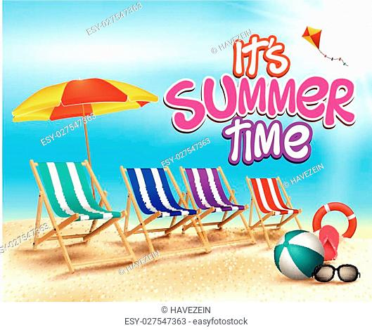 Summer Time in Beach Title in Sea Shore with Realistic Sea Shells and Objects. Vector Illustration