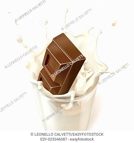 Chocolate block falling into a glass mug full of fresh milk. On white background. Clipping path included