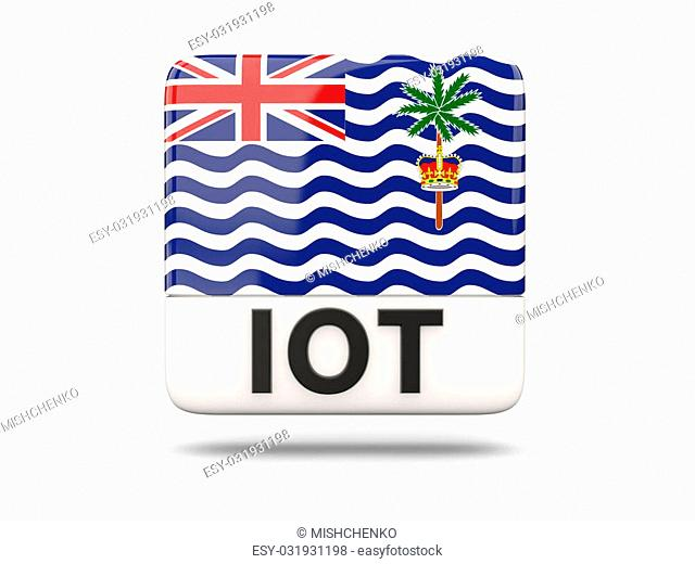 Square icon with flag of british indian ocean territory and ISO code