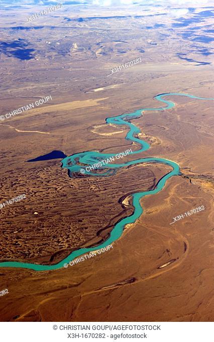 aerial view of the Santa Cruz River around El Calafate, Patagonia, Argentina, South America