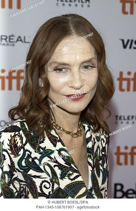 Isabelle Huppert attends the premiere of 'Greta' during the 43rd Toronto International Film Festival, tiff, at Ryerson Theatre in Toronto, Canada