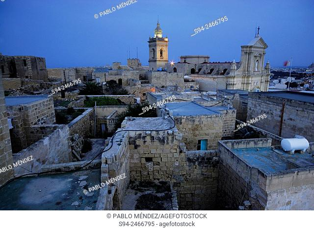 View of Victoria (ir-Rabat) with cathedral of Asuncion in Gozo island, Malta
