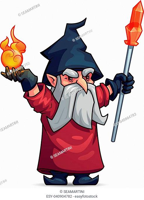 Old wizard or sorcerer cartoon character. Wicked magician with gray beard, magic staff, fire ball, hat and mantle. Merlin with magic items for Halloween