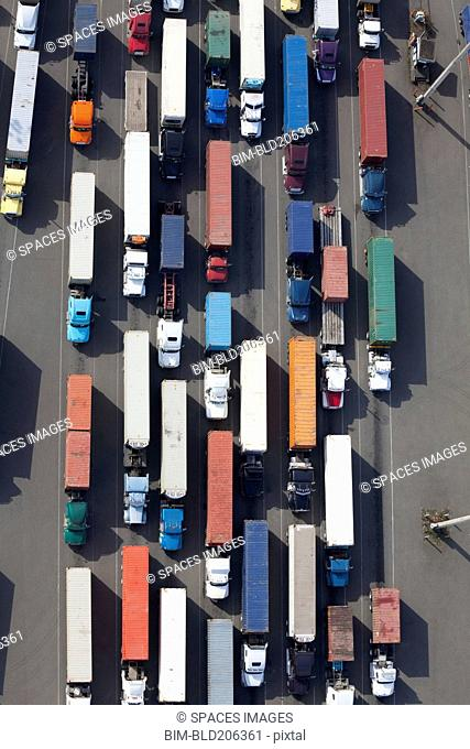 Aerial View of Semi Trucks at a Port