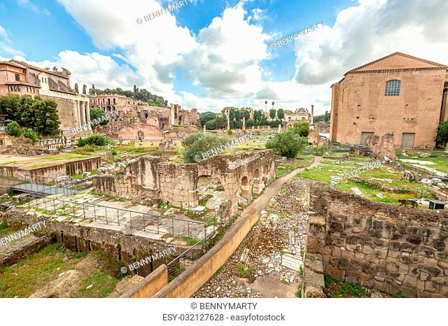 The famous ruins of the Roman Forum, Foro Romano, located between Palatino and Campidoglio, the most visited historic site in Rome with the Colosseo