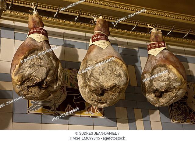 France, Cantal, Aurillac, in Auvergne Hams of Jean Louis de Paoli butcher