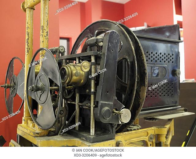 old movie projector at Le Rex Cinema, Sarlat-la-Caneda, Dordogne Department, Nouvelle-Aquitaine, France