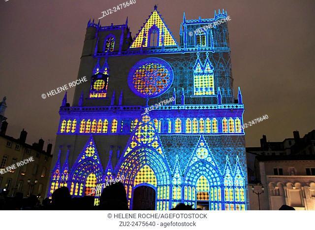 Festival of lights, Saint-Jean Cathedral, Lyon, France
