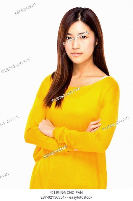 Serious asian young woman