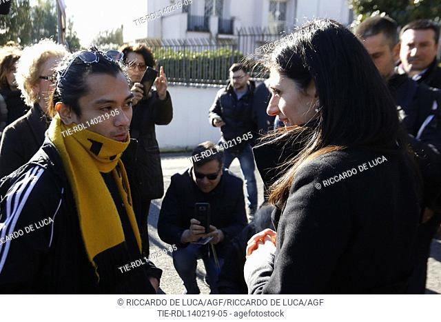 Street artist Jerico and Mayor of Rome Virginia Raggi during the inauguration of murals made on external wall of Museum of Casal de Pazzi in Rome