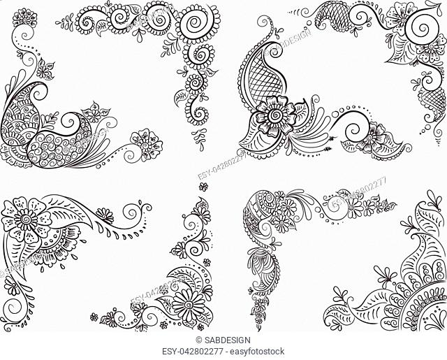 Vector abstract ethnic set with henna patterns. Stock mehndi illustration for design