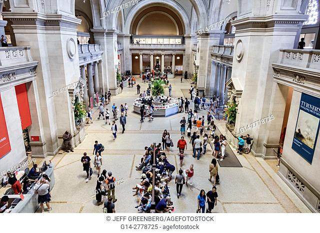 New York, New York City, NYC, Manhattan, Upper East Side, Fifth Avenue, Metropolitan Museum of Art, Met, Great Hall, overhead view, information desk, balcony