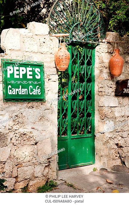 The entrance gate to Pepe's Garden Cafe in Byblos, a small coastal town in Lebanon