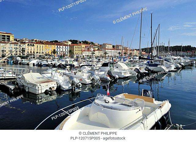 Motorboats and sailing boats in the harbour of Port-Vendres, Pyrénées-Orientales, Pyrenees, France