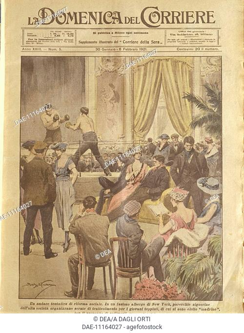 History, 20th century - New York party for young people to be redeemed. Cover illustration from La Domenica del Corriere