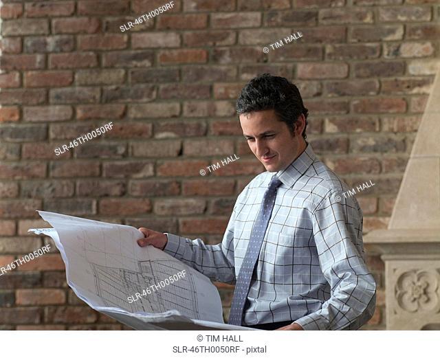 Businessman reading blueprints