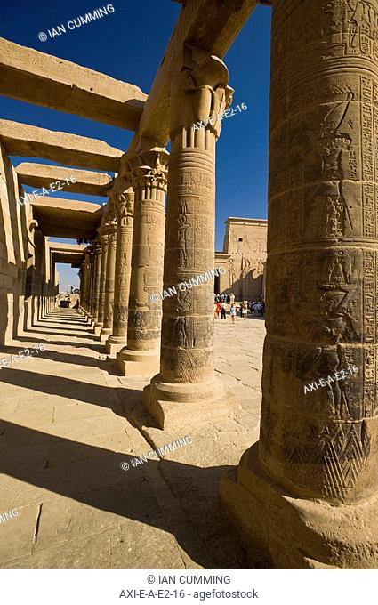Looking along West Colonnade to Temple of Isis