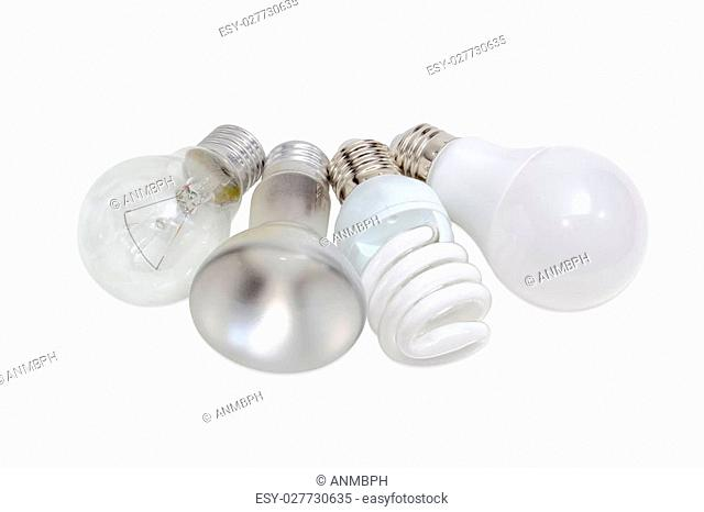 Electric lamps of different types of electric lighting - incandescent lamp ordinary and lamp with specular coated of bulb